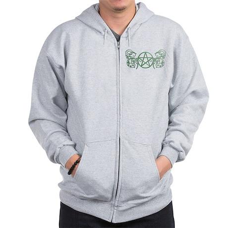 Pretty green pentacle Zip Hoodie