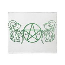 Pretty green pentacle Throw Blanket