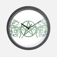 Pretty green pentacle Wall Clock