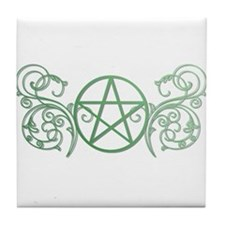 Pretty green pentacle Tile Coaster