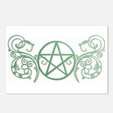 Pretty green pentacle Postcards (Package of 8)