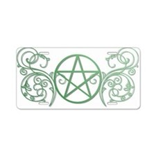 Pretty green pentacle Aluminum License Plate