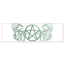Pretty green pentacle Bumper Sticker