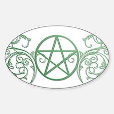 Pretty green pentacle Sticker (Oval)