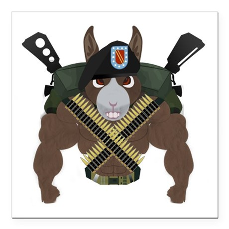 """DonkMilitary Square Car Magnet 3"""" x 3"""""""