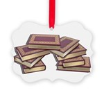 Stacked Books Gold leaf Picture Ornament