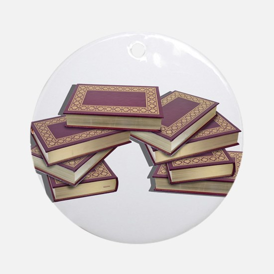 Stacked Books Gold leaf Ornament (Round)