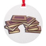 Stacked Books Gold leaf Round Ornament