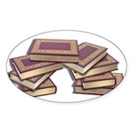 Stacked Books Gold leaf Sticker (Oval)