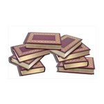 Stacked Books Gold leaf 35x21 Wall Decal