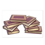 Stacked Books Gold leaf Postcards (Package of 8)