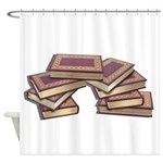 Stacked Books Gold leaf Shower Curtain