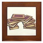 Stacked Books Gold leaf Framed Tile