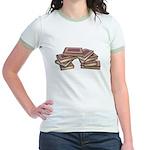 Stacked Books Gold leaf Jr. Ringer T-Shirt