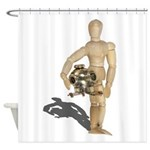 Holding Diving Helm Shower Curtain