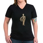 Holding Diving Helm Women's V-Neck Dark T-Shirt
