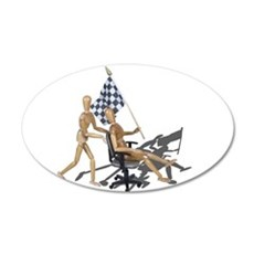 Racing Office Chair Checkered Flag Wall Decal