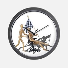 Racing Office Chair Checkered Flag Wall Clock