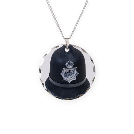 Police Bobby Hat Necklace Circle Charm