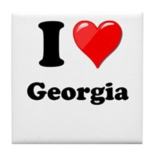 I Heart Love Geogia.png Tile Coaster