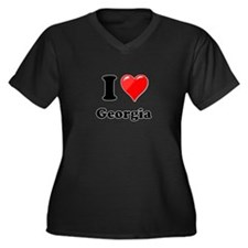 I Heart Love Geogia.png Women's Plus Size V-Neck D
