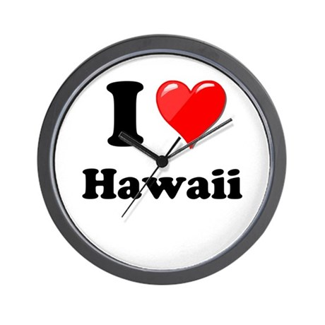 I Heart Love Hawaii.png Wall Clock