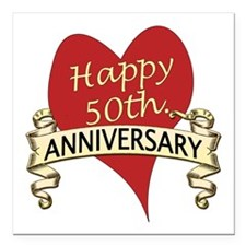 "Cute 50th wedding anniversary Square Car Magnet 3"" x 3"""