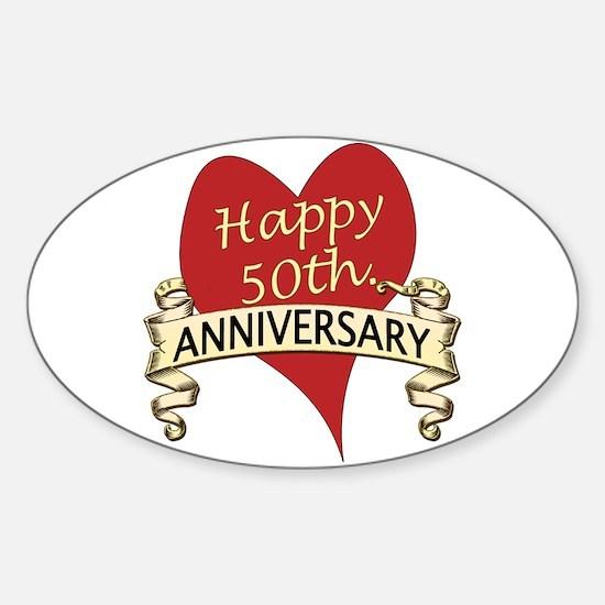 Cute 50th wedding anniversary Sticker (Oval)
