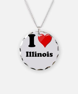 I Heart Love Illinois.png Necklace