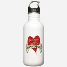 Cute 40th wedding anniversary Water Bottle
