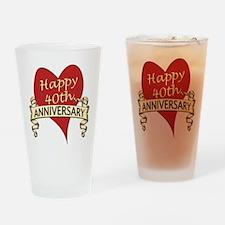 Unique Anniversary 40th Drinking Glass