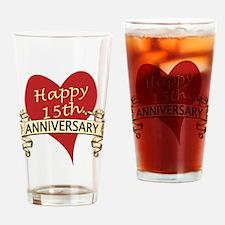 Cute Anniversary 15th Drinking Glass