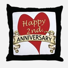 Cute 2nd anniversary Throw Pillow