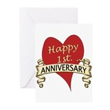 1st anniversary Greeting Cards (10 Pack)