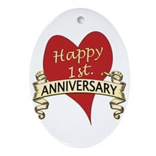 Funny First wedding anniversary Ornament (Oval)