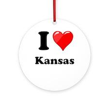 I Heart Love Kansas.png Ornament (Round)