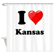 I Heart Love Kansas.png Shower Curtain