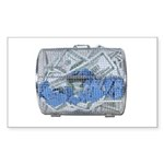 Lottery Tickets Cash Tumble Cage Sticker (Rectangl