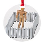 Isolated in White Picket Fence Round Ornament