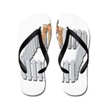 Isolated in White Picket Fence Flip Flops