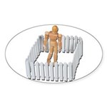 Isolated in White Picket Fence Sticker (Oval 10 pk