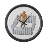 Isolated in White Picket Fence Large Wall Clock