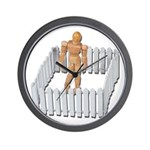 Isolated in White Picket Fence Wall Clock