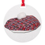 Plaid Beret Round Ornament