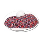 Plaid Beret 35x21 Oval Wall Decal