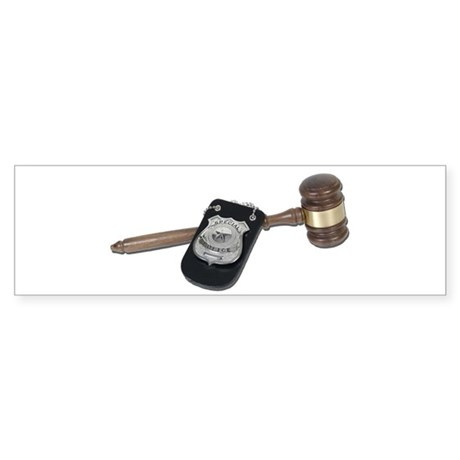 Police Badge and Gavel Sticker (Bumper)