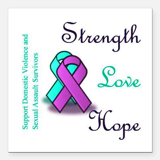 "Strength Love Hope Square Car Magnet 3"" x 3"""