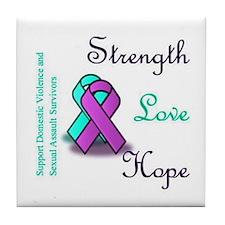 Strength Love Hope Tile Coaster