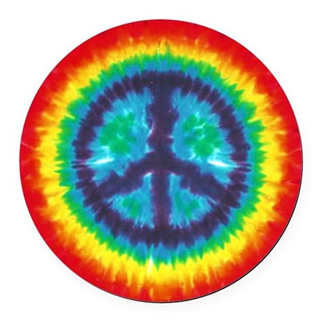 Tie Dye Peace Sign Round Car Magnet