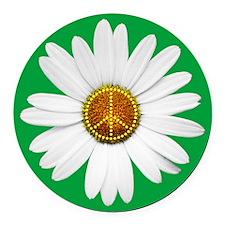 Peace Flower Round Car Magnet